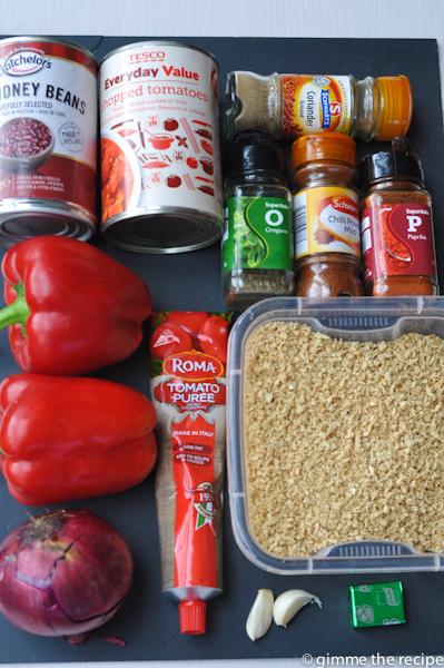 Ingredients chilli sin carne