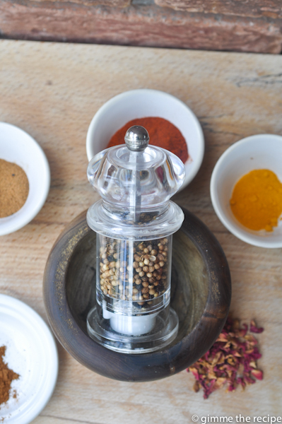 Toasted spices in grinder for Ras El Hanout