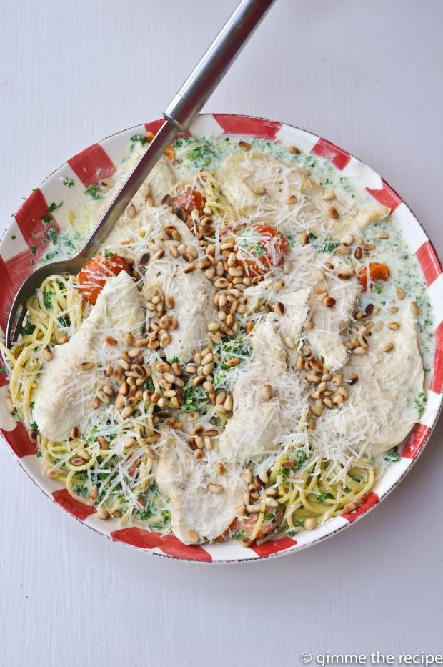 Lemon Parmesan Chicken Spaghetti Platter