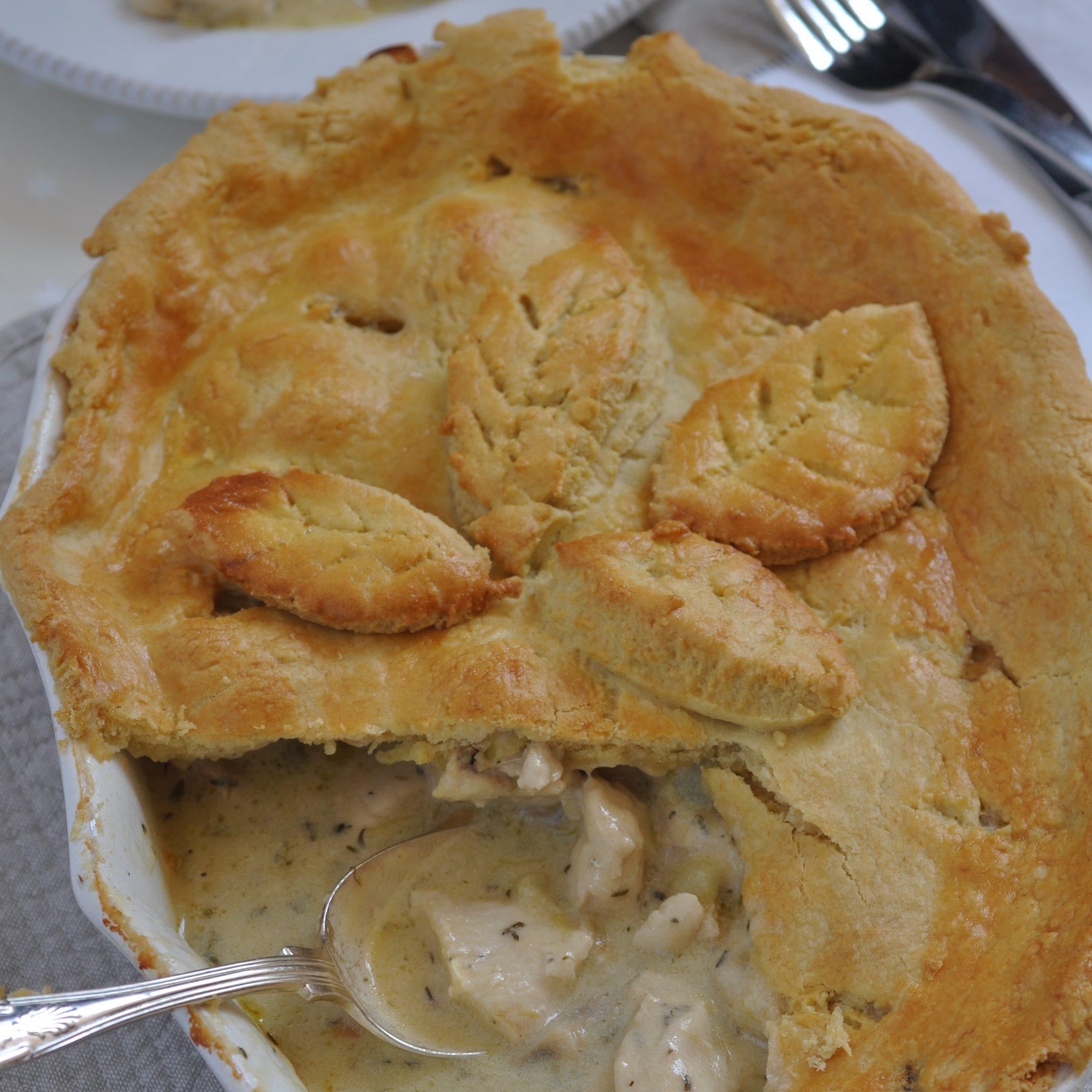 chicken leek and mushroom pie