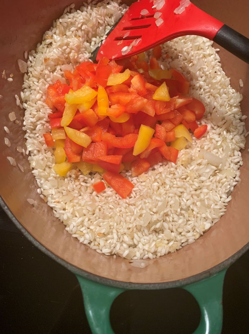 onion, rice, peppers